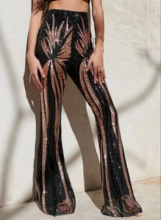 Details about  /Ladies Belly Slit Trousers Yoga Pants Slim Fit Dance Costume Bell Bottom Fashion