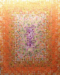 Nice quilting.  A finished blooming nine patch by Candy at Quilt Vine.