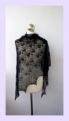 Black  hand knitted lace shawl,cobweb triangle shawl