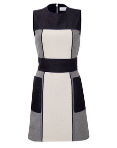 VICTORIA BECKHAM DENIM Patchwork Denim Dress   Taking a high-fashion approach to the classic sheath, this patchworked iteration from Victoria Beckham Denim features a cool-hued colorblock and soft mix of wools and denim Round neckline, sleeveless, fitted waist, metal back zip Slim tailored fit