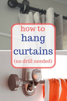 Hang your curtains without the help of your drill!   Curtains, DIY Curtains, Curtains Decor, DIY Home, DIY Home Decor   #HomeDecor #HomeDecorHacks #DIYHome