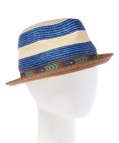 62cfbad8388 Blue   Beige Stripe Contrast-Trim Fedora Contrast