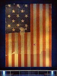 Star-Spangled Banner, National Museum of American History. The original Star-Spangled Banner, which flew over Fort McHenry in 1814 and inspired the words of our National Anthem, hangs in Flag Hall of the National Museum of History and Technology, now the National Museum of American History, Smithsonian Institution Archives, MAH-P6427.
