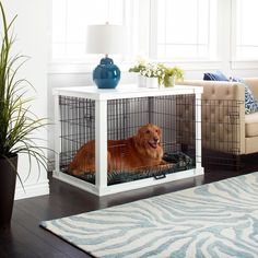Wooden Furniture End Table and Pet Crate Merry Products White Wooden Pet Kennel with Crate Cover (Small - Large) Puppy Crate, Diy Dog Crate, Large Dog Crate, Large Dogs, Wooden Dog Crate, Pet Crates, Wood Dog, Wood Crates, Small Dogs