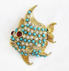Smiling Fish Figural Brooch by AgedandOpulentJewels on Etsy, $75.00