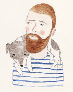 Cute Portrait of You and Your Dog. $200.00, via Etsy.