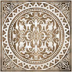 Digital tiles, medallion motif ornate art prints, Mosaic Tile Wall Art set of 4 printable tile stencil images, blue and brown home decor Mandala Stencils, Stencil Patterns, Tile Patterns, Pattern Art, Pattern Design, Brown Home Decor, Greek Pattern, Decoupage, Leaf Art