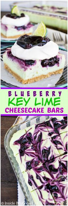 Blueberry Key Lime Cheesecake Bars - swirls of pie filling make these creamy citrus bars a fun summer dessert. Awesome recipe for parties and picnics.: