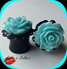 1/2 inch Plugs with Aqua Roses by RockNBetties on Etsy, $25.00