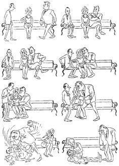 The Winner of the Heart. Vintage cartoons by the Danish artist Herluf Bidstrup.