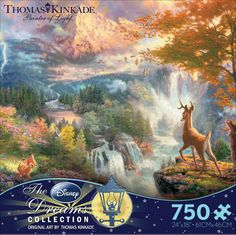 """A 750 piece puzzle depicting Thomas Kinkade's painting, Bambi's First Year. - Manufacturer: Ceaco - Item Number: 2903-06 - Piece Count: 750 - Puzzle Size: 24"""" x 18"""""""