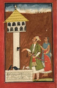 An illustration from a Ragamala series: Raga Kuntala son of Dipaka, India, Bilaspur, circa 1700-20