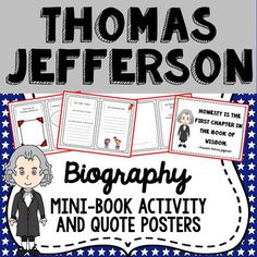 This easy to use Thomas Jefferson printable biography mini-book is available in both color and b/w options, and is useful for both independent and group activities. This is the perfect tool to encourage a wide range of thinking and creativity among students, connecting history with the present day.