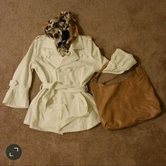 Small, cream color light coat, 3/4 sleeves Small sized cream/off white light coat with 3/4 sleeves and belt ties around waist. 60% cotton 40% polyester, machine washable. Cute and stylish. Great condition. All buttons attached. Cato Jackets & Coats Pea Coats