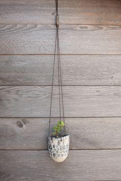 Minimalist Hanging Planter, Raku, Ceramic Planter, Succulent Planter, Air Plants, Blue Planter, Garden Planter, Tillandsia Planter, Handmade