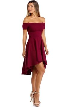 Show off your amazing fashion sense with this burgundy dress that features an elastic off the shoulder neckline, short sleeves, a slim fitting bodice, and a skater skirt with a hi-low hemline. Dama Dresses, Hoco Dresses, Event Dresses, Dresses For Teens, Pretty Dresses, Homecoming Dresses, Beautiful Dresses, Casual Dresses, Skater Dress
