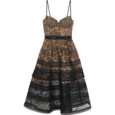 Self-Portrait Tiered paneled guipure lace dress (695 TND) ❤ liked on Polyvore featuring dresses, black, tiered lace dress, calf length dresses, lace midi dress, paisley dress and zipper dress