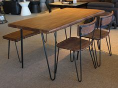 Konto Furniture - Live Edge Acacia Table with Hairpin Legs