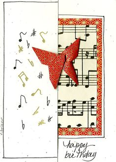 Musical Butterfly Origami Art Card