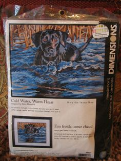 Dimensions Needlepoint Kit Cold Water Warm Heart Black Labrador Steve Hamrick #Dimensions