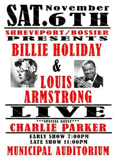 Billie Holiday & Louis Armstrong concert, vintage advert , poster reproduction. Rock Posters, Concert Posters, Theatre Posters, Louis Armstrong, Billie Holiday, Jazz Music, Music Icon, Vintage Music Posters, African American Culture