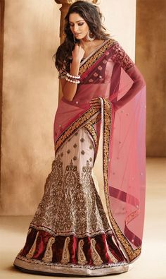 Elegant Net and Georgette Lehenga saree- GOSH Fashions