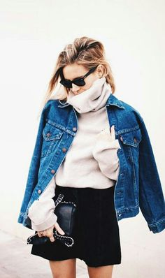 Layering with a jean jacket, turtleneck and skirt!