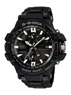Casio Men's GWA1000D-1A G-Aviation G-Shock Watch. Casio g-aviation. Triple g resist-designed to withstand the shock of three forces: gravitational dripping force, centrifugal gravitational force and vibration. Smart access crown; tough movement; thermometer; 1/20 sec chronograph (120 min). Countdown timer (60 min); unique fly back hand-can temporarily move the hands out of the way of the lcd window; shock resistant; smart access crown; tough solar power; mb6 atomic timekeeping. Neo-brite...