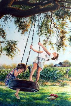 Shop online for art prints of AFTER SCHOOL painting of two little girls swinging on a tire swing in a country farmhouse yard by artist Hanne Lore Koehler. Art Village, Art Sketches, Art Drawings, Swing Painting, Goldscheider, Village Photography, School Painting, Creation Photo, Indian Art Paintings