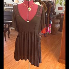 Asymmetrical lace detailed dress Super cute with butterfly sleeves. In excellent condition. Worn once. Free People Dresses Asymmetrical