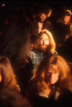 John Lennon in the audience during Bob Dylan's show at the Isle of Wight Festival 31st August 1969