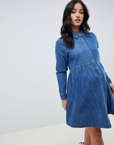 ba9f0befa1 DESIGN Maternity denim smock shirt dress in midwash blue