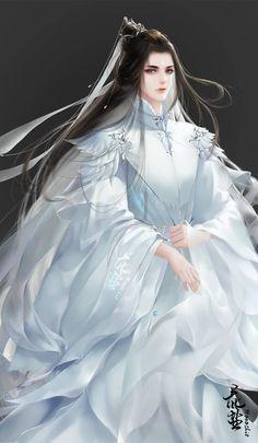 Fantasy Art Men, Anime Art Fantasy, Beautiful Fantasy Art, Fantasy Artwork, Chinese Drawings, Chinese Art, Fantasy Character Design, Character Art, Anime Boy Long Hair