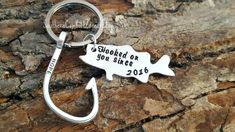 Hooked On You - Anniversary Key Chain Gift - Country Couple - Fish and Hook - Personalized - Hand Stamped - Gift for Him - Camo - Bass Fish by SouthernComfortZone on Etsy