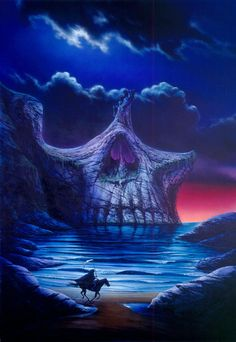 Garry Walton Solid-Faced Canvas Print Wall Art Print entitled Skull Point, None Arte Horror, Horror Art, Dark Fantasy Art, Dark Art, Skull Pictures, Dark Drawings, Arte Obscura, Skull Artwork, Skull Island