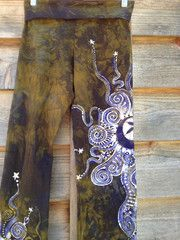 Lavender and Dark Gold Batik Yoga Pants - Custom Made