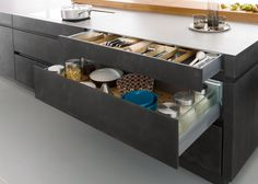 Outstanding Black Kitchen Decor Kitchen Modern with Modern Ideas Gray Open Shelves Stainless Steel Hardware Flat Panel Cabinets Designs Concrete Kitchen, Kitchen Flooring, Concrete Floor, Concrete Countertops, Contemporary Kitchen Design, Modern Interior Design, Kitchen Styling, Kitchen Storage, Dyi Kitchen Ideas