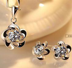 Joyme 2014 new fashion women Jewelry set 925 Silver Crystal Pendant Necklace Earrings set Bridal jewelry-in Pendant Necklaces from Jewelry on Aliexpress.com   Alibaba Group