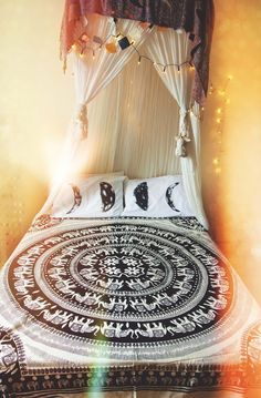 WE ARE ALL ONE ELEPHANT MANDALA BED THROW & WALL HANGING.