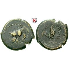 Italien-Kampanien, Teanum Sidicinum, Bronze 265-240 v.Chr., ss: Bronze 21 mm 265-240 v.Chr. Behelmter Kopf der Athena l. / TIANO… #coins