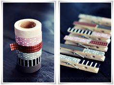 Decorate wooden pins with masking tape and match with Divine Twine
