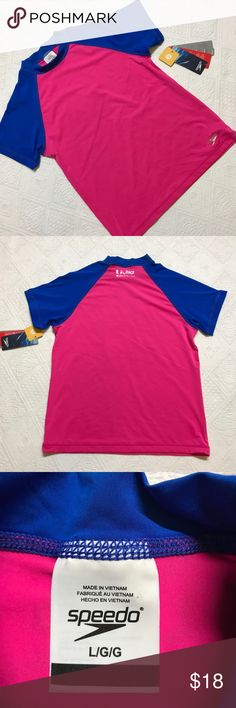 Speedo Girls Large 12 Color Block Rash Guard Brand new with tags speedo color block electric pink rash guard with UV 50+ Protection. I love these things. Protects from the sun and less sunblock to deal with. Speedo Swim Rashguards