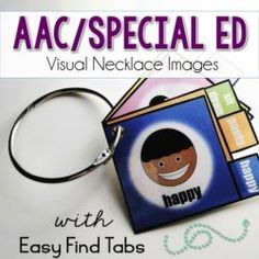 The Visual Necklace! AAC Visuals can benefit everyone but those necklaces can be messy and make images hard to find.  The tabs and color coding on these visuals make them easy to find.