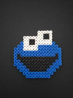 Cookie Monster  Sesame Street bead art fridge magnet Pixel Beads, Fuse Beads, Perler Beads, Display Resolution, Pulp Fiction, Cookie Monster, Bead Art, Street, Handmade Gifts