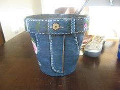 clay pot painted to look like jeans
