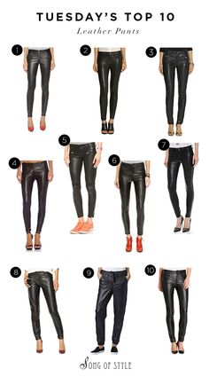 TUESDAY'S TOP 10 LEATHER PANTS & HOW TO WEAR THEM  I'm sure it comes by no surprise but I love leather pants. Just like denim, they're what I turn to the most and over the years I've accumulated quite a collection from faux leather leggings to real leather pants. Above are some of my favorites for every budget from high and low.  http://www.songofstyle.com/2015/02/tuesdays-top-10-leather-pants-wear.html