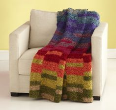 Image of Color Spectrum afghan, free crochet pattern. #blanket #knitted #crocheted