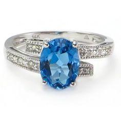 BOLD Oval Swiss Blue Topaz Diamond Bypass Ring 14k white gold #BlueTopazRing #SwissBlueTopazRing #OvalBlueTopazRing14k