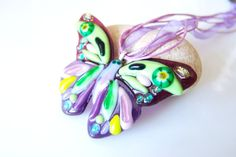 Butterfly Necklace Fused Glass Pendant. Butterfly Violet Green. Fused glass.Necklace. Pink pendant.Magenta.Glass butterfly.Butterfly Pendant