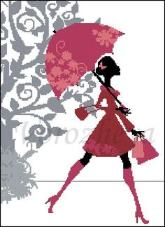 0 point de croix silhouette noir et rouge fille parapluie - cross stitch black and red girl and umbrella